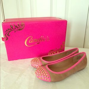 CANDIES PINK & TAN SPIKED FLATS